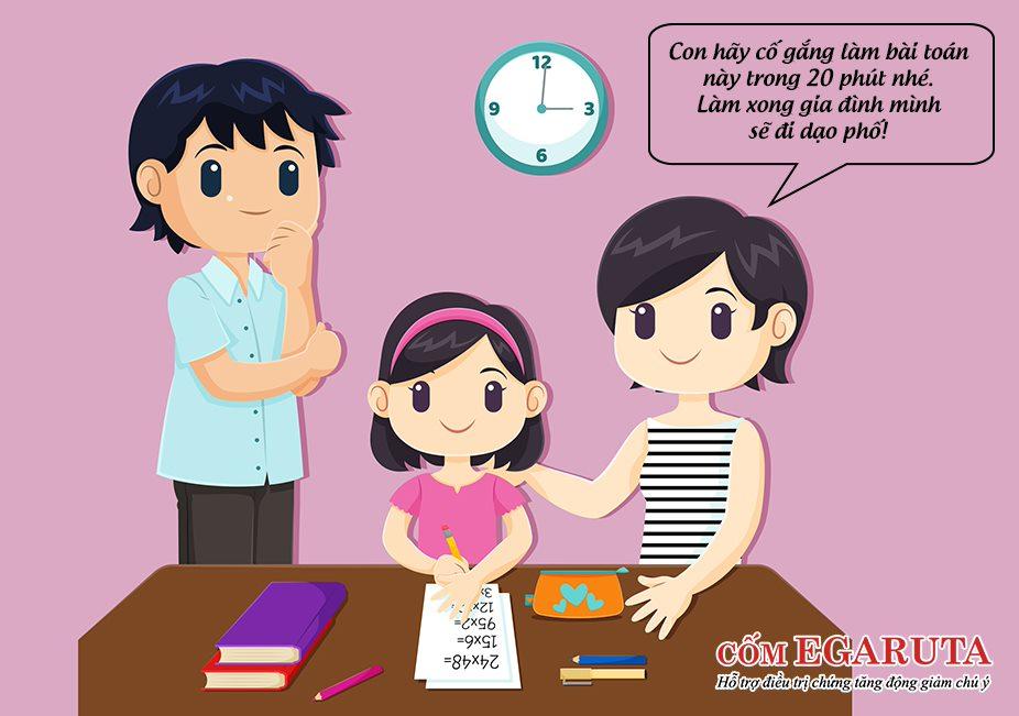 Thiết lập thời gian cho từng nhiệm vụ của trẻ tăng động giảm chú ý